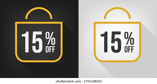 15% off. Black, white and yellow banner with fifteen percent discount. Shopping bag concept vector.
