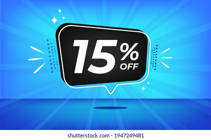 15% off. Blue banner with fifteen percent discount on a black balloon for mega big sales.
