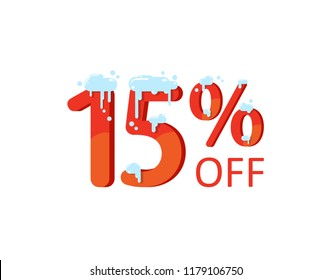 15% off. A discount of fifteen  percent. Numbers  in the snow. Winter sale, Christmas sale, holiday sale. Flat vector illustration