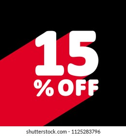 15% OFF Discount. Discount Offer Price Illustration. White Text with Red Shadow Below. Black Background. Retro Style.