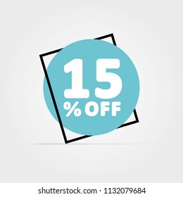 15% OFF discount. Discount offer price Illustration, Vector discount symbol. Black Frame. Blue Circle with White Text. Light Grey Background.