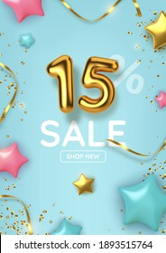 15 off discount promotion sale made of realistic 3d gold balloons with stars, sepantine and tinsel. Number in the form of golden balloons.  Vector illustration