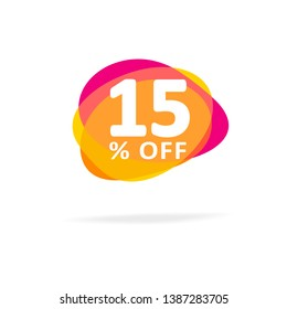 15% off Discount. Simple Sale Vector Sign. Abstract Vector Sale Illustration with Pink and Orange Cloud.Colorful Sale Icon with Shadow Isolated on a White Background.Discount Sign for Webstite, Flyer.