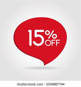 15% OFF Discount Sticker. Sale Red Tag Isolated Vector Illustration. Discount Offer Price Label, Vector Price Discount Symbol.