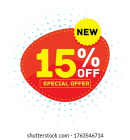 15% off discount sticker, Special offer sale red tag isolated vector illustration. Discount offer price label, symbol for advertising campaign in retail, sale promo marketing, ad offer on shopping day