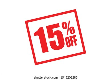 15% off display in white background