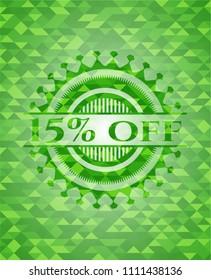 15% off realistic green mosaic emblem