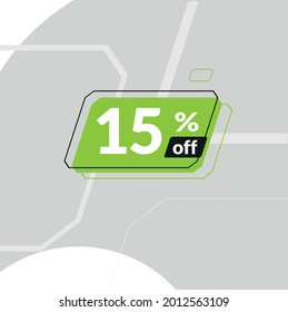 15% off sale banner with green seal with fifteen percent on light gray background