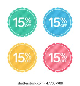 15% off. Sale and discount price badge sticker. Concept Shopping.