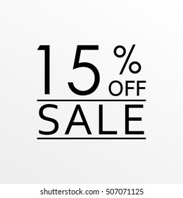 15% off. Sale and discount price banner. Sales tag design template. Vector illustration.