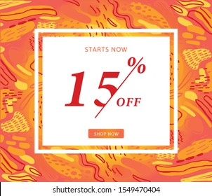 15% OFF Sale. Discount Promotion. Sale Discount Offer. Discount Price. Special Offer Marketing Ad. 15% Discount Special Offer Banner Design Template. Yellow and red. Summer colour - Vektor
