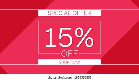 15% off special offer banner, 15% off simple banner design