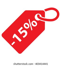 -15% Off tag. Red color. Isolated. Vector illustration.