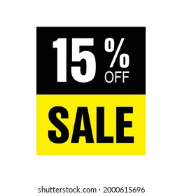 15% off. Yellow and black banner with fifteen percent discount for mega big sales.