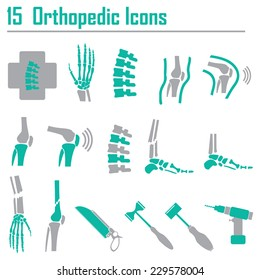 15 Orthopedic and spine symbol - vector illustration, Collection Human Skeleton.