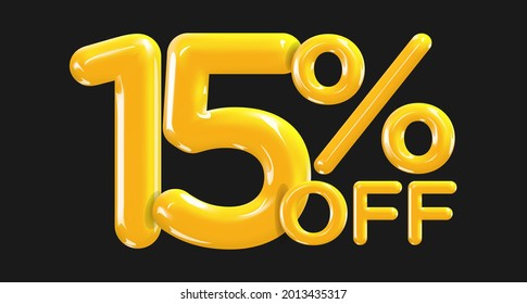 15 percent Off. Discount creative composition of golden or yellow balloons. 3d mega sale or fifteen percent bonus symbol on black background. Sale banner and poster. Vector illustration.