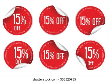 15 percent off red paper sale stickers