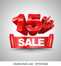 15 percent off sale red ribbon banner roll 3D style. Vector illustration for promotion advertising.