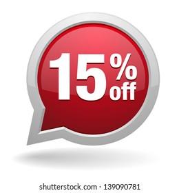 15 percent off speech bubble