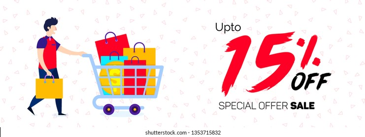 15 Percent Offer Banner 15% Discount Sale Off big Online offer 15% Offer banner Sale Special Offer Tag e-commerce Banner Advertising Promotional Poster Design Vector Offers Mobile Fashion