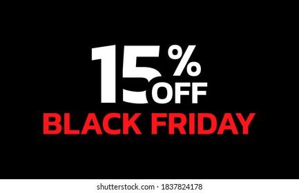 15 percent price off icon or label. Black Friday Sale banner. Discount badge design. Vector illustration.
