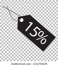 15 percent tag on transparent background. 15 percent tag sign. flat style. 15 percent tag icon for your web site design, logo, app, UI.