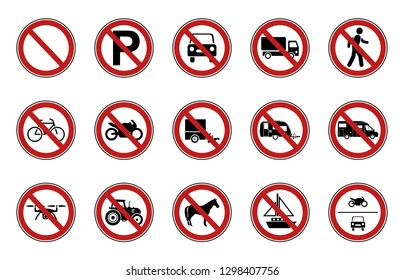 15 Prohibition & Warning Signs - Iconset (Traffic)