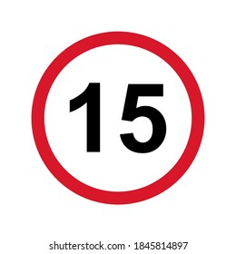 15+ restriction flat sign isolated on white background. Age limit symbol. No under fifteen years warning illustration .