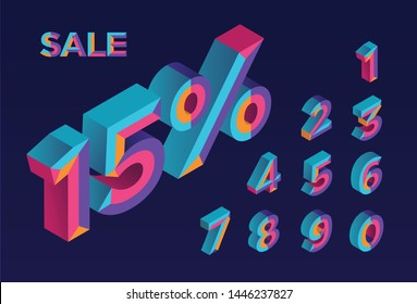 15% sale. 0, 1, 2, 3, 4, 5, 6, 7, 8, 9 isometric 3D numeral alphabet. Percent off, sale background. Colorfull polygonal triangle Letter. Eps10. Vector Isolated Number.
