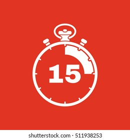 The 15 seconds, minutes stopwatch icon. Clock and watch, timer, countdown, stopwatch symbol. UI. Web. Logo. Sign. Flat design. App. Stock vector