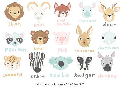 15 stickers with cute animals and hand drawn lettering. lion, goat, red panda, koala, bear, kangaroo, pid and others. Vector pins design