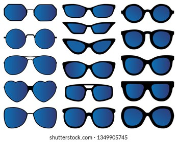 15 Sunglasses vector icons illustration isolated on white backgound
