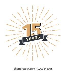 15 th anniversary retro vector emblem isolated template. Vintage logo Fifteen years with ribbon and salute on white background