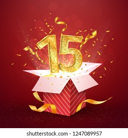 15 th years anniversary and open gift box with explosions confetti. Template fifteen birthday celebration on blue background vector Illustration
