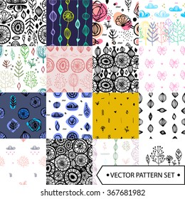 15 Universal different vector seamless patterns. Endless texture can be used for wallpaper, pattern fills, web page background,surface textures, greetings, cards. Set of  hand drawn ornaments.