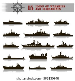 15 vector black icons of warships with reflection and submarines