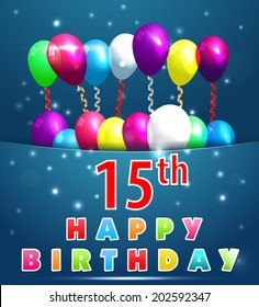 61 Year Happy Birthday Card Balloons Stock Vector Royalty Free