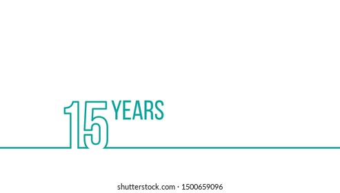 15 years anniversary or birthday. Linear outline graphics. Can be used for printing materials, brouchures, covers, reports. Stock Vector illustration isolated on white background