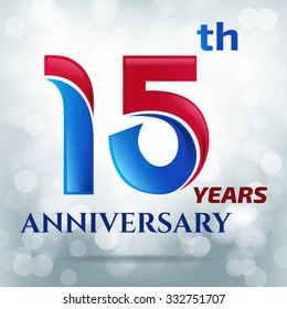 15 years anniversary with bokeh lights in background.-vector illustration