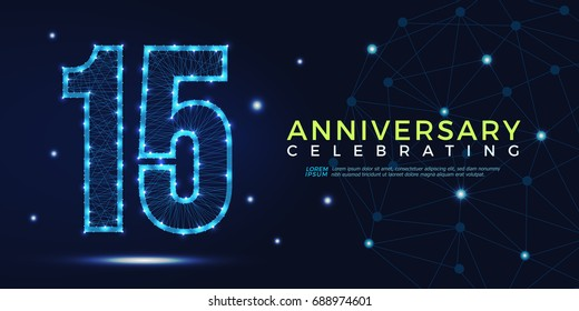 15 years anniversary celebrating numbers vector abstract polygonal silhouette. 15th anniversary concept. technology numbers vector illustration