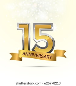 15 years anniversary celebration with Abstract background with many falling gold tiny confetti pieces.