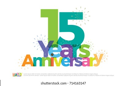 15 years anniversary celebration colorful logo with fireworks on white background. 15th anniversary logotype template design for banner, poster, card vector illustrator