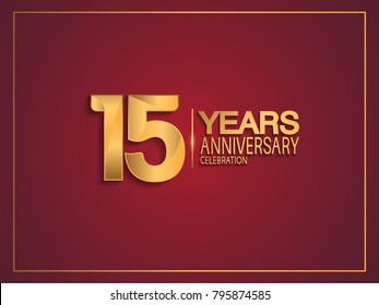 15 years anniversary celebration design with golden color isolated on red background for celebration event