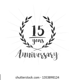 15 years anniversary celebration logo. Anniversary watercolor design template. Vector and illustration.