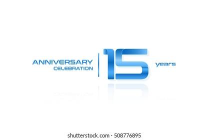 15 years anniversary celebration logo, blue, isolated on white background