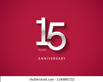 15 years anniversary celebration logotype with silver color isolated on Red background