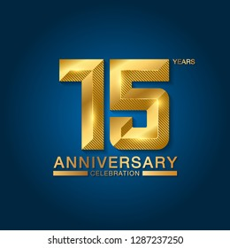 15 years anniversary celebration logotype. Golden anniversary emblem with ribbon. Design for booklet, leaflet, magazine, brochure, poster, web, invitation or greeting card. Vector illustration.