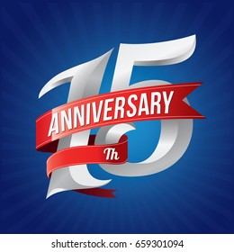 15 years anniversary celebration logotype. 15th silver number with red ribbons on blue background