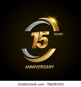 15 Years Anniversary Celebration Logotype. Golden Elegant Vector Illustration with Swoosh, Isolated on Black Background can be use for Celebration, Invitation, and Greeting card