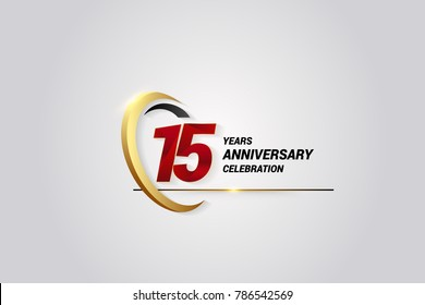 15 Years Anniversary Celebration Logotype. Red Elegant Vector Illustration with Gold Swoosh, Isolated on Black Background can be use for Celebration, Invitation, and Greeting card